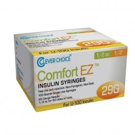 "Clever Choice ComfortEZ Insulin Syringes 29 Gauge, 1/2cc, 1/2"", 100ct"