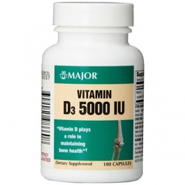 Major Vitamin D3 125 mcg Capsules 100ct