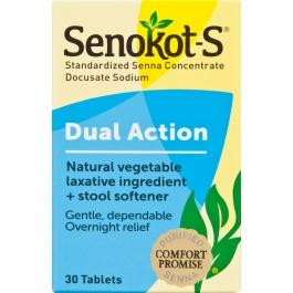 Senokot-S® Natural Vegetable Laxative Ingredient Plus Stool Softener- 30ct