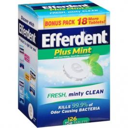 Efferdent Tablets Plus Mint - 126ct