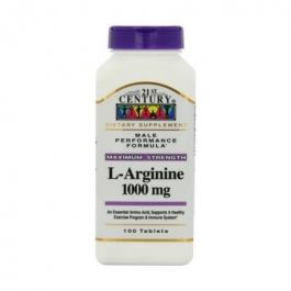 21st Century L-Arginine 1000mg, Maximum Strength Tablets - 100 ct