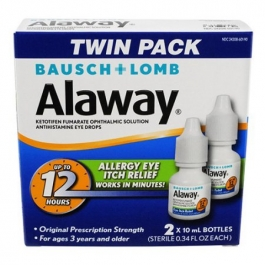 Alaway Ketotifen Fumarate Ophthalmic Solution Antihistamine Eye Drops Twin Pack - 2x0.34 fl oz