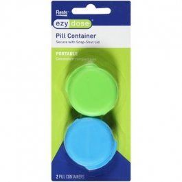 Ezy Dose Portable Compact Size Daily Pill Containers Secure with Snap-shut Lids - 2 Per Pack (Colors Will Vary)