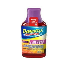 Theraflu ExpressMax Syrup for Flu Cough and Sore Throat, Berry, 8.3 Oz