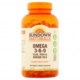 Sundown Naturals Triple Omega 3 6 9 Softgels 200ct