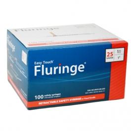 "EasyTouch® Fluringe® Retractable Safety Syringe w/Fixed Needle, 25 Gauge, 1cc, 1"" - 100ct"