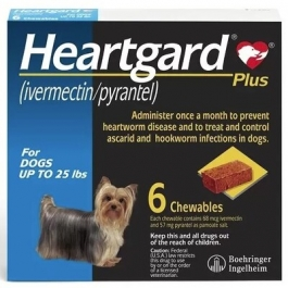 Heartgard Chewables For Dogs 1-25 lbs-6 Count Box (Blue)