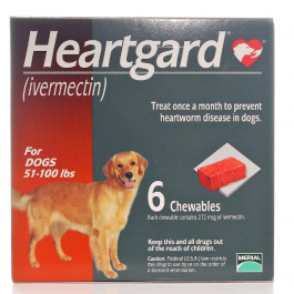 Heartgard Chewables For Dogs 51-100 lbs-6 Count Box (Brown)