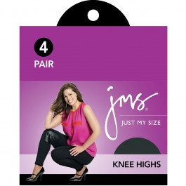 Just My Size Women's Outside Knee Panty Hose, Off Black, One Size- 4ct ** Extended Lead Time **