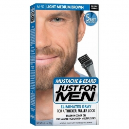 Just For Men Brush-In Mustache Beard & Sideburns Gel(Light-Medium Brown M-30) - 1oz