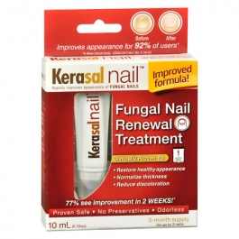 Kerasal® Fungal Nail Renewal™ is a nail repair solution that improves the appearance of nails damaged by fungus. It helps normalize the thickness of the nail, reduce discoloration, and hydrate the nail.