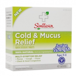 Similasan Junior Strength Cold & Mucus Relief Quick Dissolve Tablets- 40ct