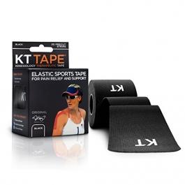 "KT TAPE Original Cotton Elastic Kinesiology Theraeputic Tape Black - 20 Pre-Cut 10"" Strips"