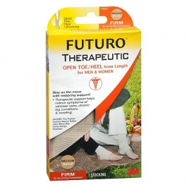 FUTURO Therapeutic Knee Length Stocking Open Toe/Heel-Beige-Firm 20-30mmHg- Medium