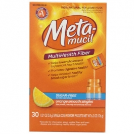 Metamucil  Multi Health Fiber, Orange Smooth, Sugar Free - 30 Packets