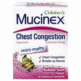 Children's Mucinex Chest Congestion Expectorant, Mini-Melts, Bubble Gum- 12ct