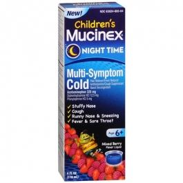 Children's Mucinex Night Time Multi-Symptom Cold Liquid, Mixed Berry- 4oz