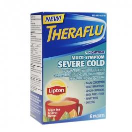 TheraFlu Nighttime Multi Symptom Severe Cold, Lipton Green Tea & Citrus Flavors- 6ct
