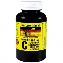 Nature's Blend Vitamin C 1000 mg with Citrus Bioflavonoids & Rose Hips Capsules - 90ct