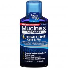 Mucinex Fast-Max Maximum Strength Night Time Cold & Flu Relief Liquid- 6oz