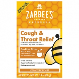ZarBee's Naturals Cough & Throat Relief Daytime Drink Packets, Apple Spice- 6ct