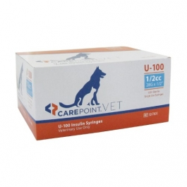Carepoint Veterinary U-100 Insulin Syringe 28 Gauge, 1/2cc, 1/2""