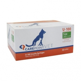 Carepoint Veterinary U-100 Insulin Syringe 29 Gauge, 1cc, 1/2""