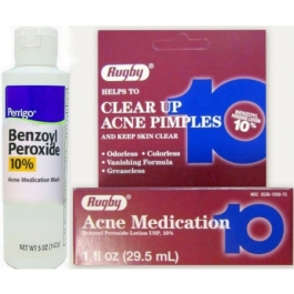 Rugby Acne Medication Benzoyl Peroxide Lotion USP 10% - 1oz