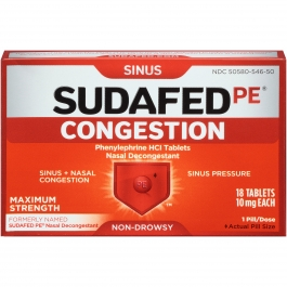 Sudafed PE Congestion Maximum Strength Sinus + Nasal Congestion Relief, 10mg- 18ct