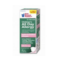 GNP Allergy All Day Cetirizine, Sugar Free, Bubblegum- 4oz