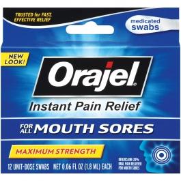 Orajel Medicated Mouth Sore Swabs Maximum Strength - 12ct