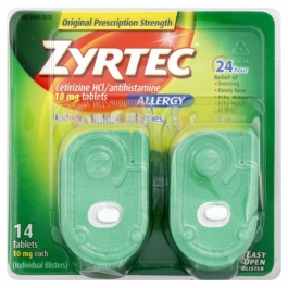 Zyrtec 24-Hour Allergy Relief, 10 mg, Tablets- 14ct