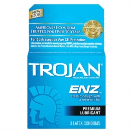 TROJAN ENZ Premium Lubricant Latex Condoms - 3ct