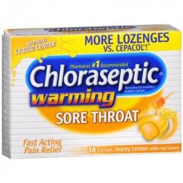Chloraseptic Warming Sore Throat Lozenges, Honey Lemon- 18ct