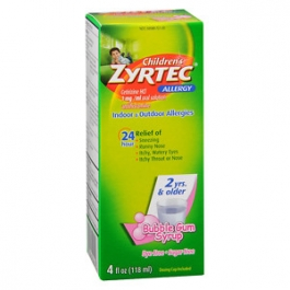 Children's Zyrtec Allergy Syrup, Sugar Free Bubble Gum- 4oz