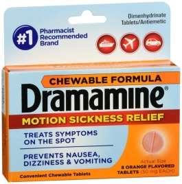 Dramamine Motion Sickness Relief, Chewable Tablets, Original Formula, 8 ct