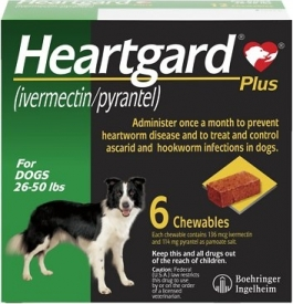 HeartGard Plus Chewables (For Dogs 26-50 lbs)-6 Tablet Pack(Green)