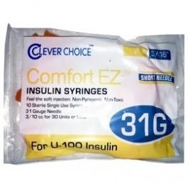 "Clever Choice ComfortEZ Insulin Syringes 31 Gauge, 1cc, 5/16"", 10ct"