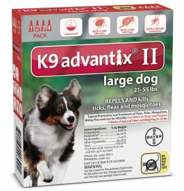 Advantix II K-9  (For Large Dogs, 21 to 55 lbs) - 4 Pack (Red)
