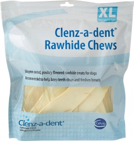 Clenz-a-dent Breakables Rawhide Dental Chews, XL- 15ct
