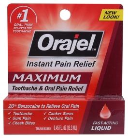 Orajel Toothache Pain Relief Maximum Strength 20% Liquid - 0.45oz