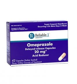Reliable-1 Laboratories Omeprazole 20mg Delayed Release For Heartburn 42 Count