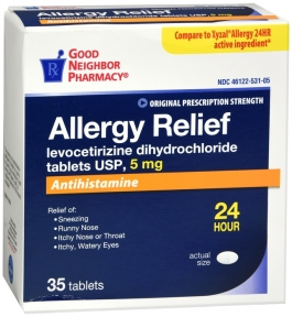 GNP Levocetirizine Dihydrochloride 5mg Allergy Relief Tablets, 35ct