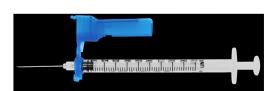 "EasyTouch® Fliplock Safety Syringe w/Exchangeable Needle, 21 Gauge, 5cc, 1"" - 50ct"