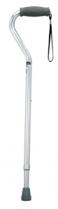 NOVA Medical Products Cane with Offset Handle and Strap, Silver