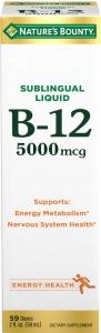 Nature's Bounty B-12 Sublingual Liquid 5000 mcg Berry, 2 oz