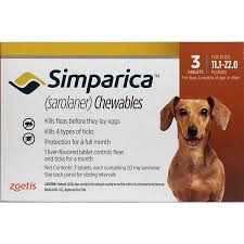 Simparica Chewable Tablets for Dogs- 11-22lbs (20mg) Orange- 6 Pack