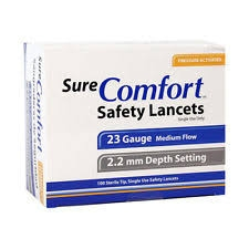 SureComfort Safety Lancets 21G, 2.2mm- 100ct