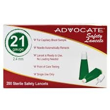 Advocate Safety Lancet 21G x 2.4mm- 200ct Box