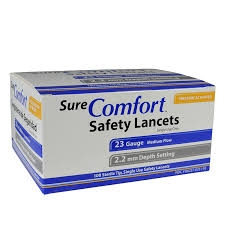 SureComfort Safety Lancets 23G, 2.2mm- 100ct